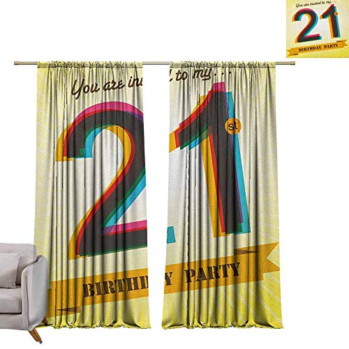 berrly Grommet Blackout Curtains 21st Birthday,Invitation to an Amazing Birthday Party on a Golden Colored Backdrop Image, Multicolor W84 x L108 Art Drapery Panels ()