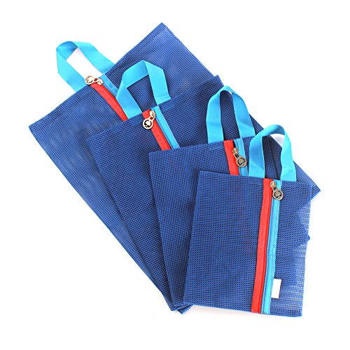Zicome Mesh Travel Pouch Bag Organizer with Zipper, Pack of 4, Assorted Sizes ()