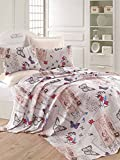 LaModaHome Luxury Soft Colored Bedroom Bedding 100% Cotton Double Coverlet (Pique) Thin Coverlet Summer/Soft Relaxed Comfortable Pattern Butterfly Animal /