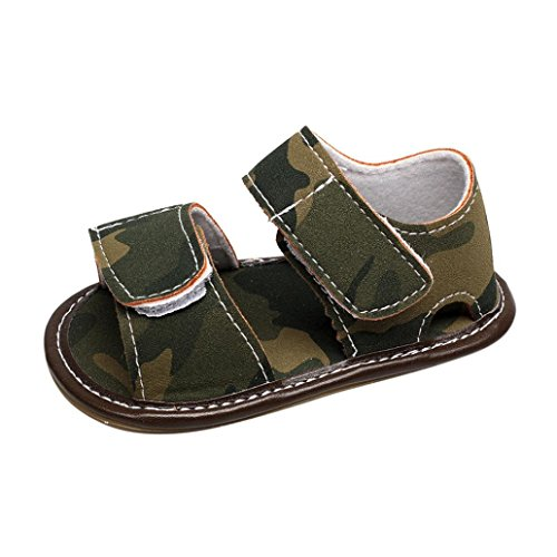 Crib Shoes, Newborn Infant Baby Girl Boy Leather Camouflage Sandals Summer Soft Flat Shoes (Green, Age:9M)
