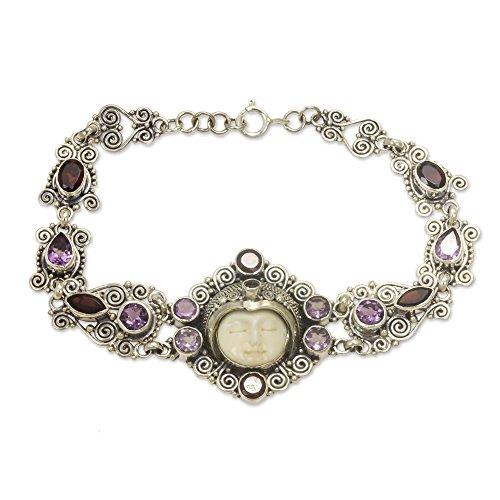 NOVICA Multi-Gem Amethyst .925 Sterling Silver Bone Link Bracelet, 7.5