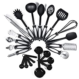 24-Piece Nylon Cooking Utensils Kitchen Utensil set – Nylon Kitchen Utensils Set Best Kitchen Tools(BPA Free NON Toxic…