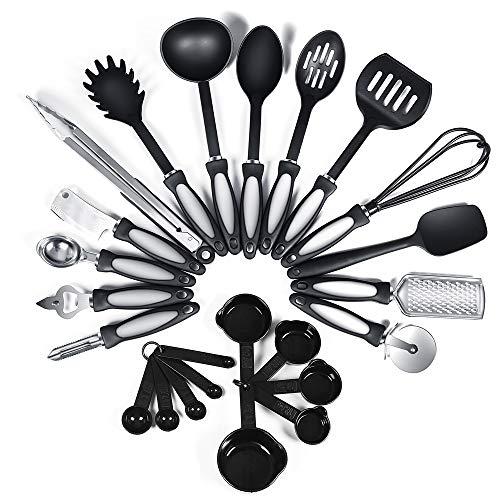 24-Piece Nylon Cooking Utensils Kitchen Utensil set – Nylon Kitchen Utensils Set Best Kitchen Tools(BPA Free NON Toxic…
