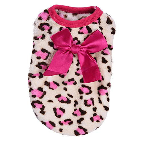 Cowmole Co. Pet Dog Puppy Clothes Dogs Bowknot Costume Pajamas for Small Milk Dogs Chihuahua Clothing with Leopard Pattern Hoodie 4 -