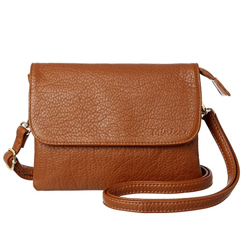 MINICAT Women RFID Blocking Small Crossbody Bags Credit Card Slots Cell Phone Purse Wallet(Brown-Small)