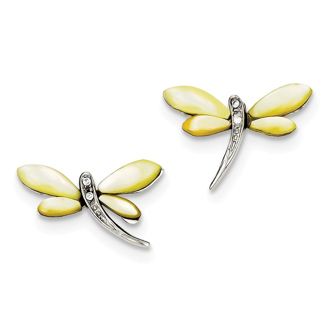 ICE CARATS 925 Sterling Silver Cubic Zirconia Cz Yellow Mother Of Pearl Dragonfly Post Stud Ball Button Earrings Animal Insect Fine Jewelry Ideal Gifts For Women Gift Set From Heart