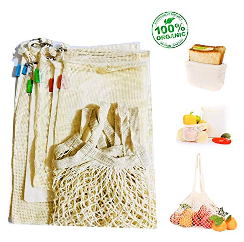 Reusable Produce Bags for Grocery Shopping, Set of 8 | Organic Cotton, Biodegradable, Eco Friendly | Large Grocery Shopping Bag, Mesh & Muslin Bags with BONUS Reusable Sandwich & Snack Bag with Zipper