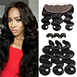 Morichy Peruvian Body Wave 3 Bundles with Lace Frontal Closure 100% Unprocessed Human Hair Extension Bundles with Ear to Ear Lace Frontal (13X4) with Baby Hair Natural Color Weft 50g/pc (10 10 10+10) For Sale