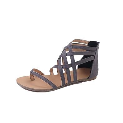 bf908b52e2b FEITONG Women Bohemian Flat Sandals Shoes Gladiator Flops Strap Flip Toe  Shoes (35 EU