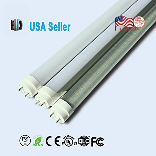 US stock 100 pack 4ft 18w T8 led tube light UL list with G13 cap transparent cover replace the fluorescent light AC85-265v 6500k 4 foot ballast bypass led tubes (4 100k Tube Fluorescent)