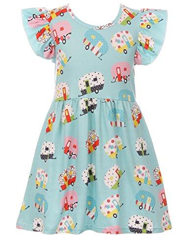 Toddler Girls Cap Sleeve School Bus Cotton Party Birthday Flower Girl Dress Blue 2T XS (P600516P) ()
