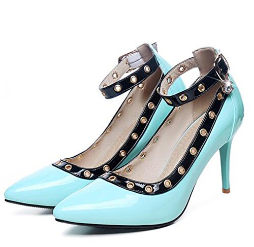 Easemax Womens Stylish Patent Stitching Ankle Buckle Strap Pendant Pointed Toe Low Top High Stiletto Heel Pumps Shoes Blue eCL3zcsAo