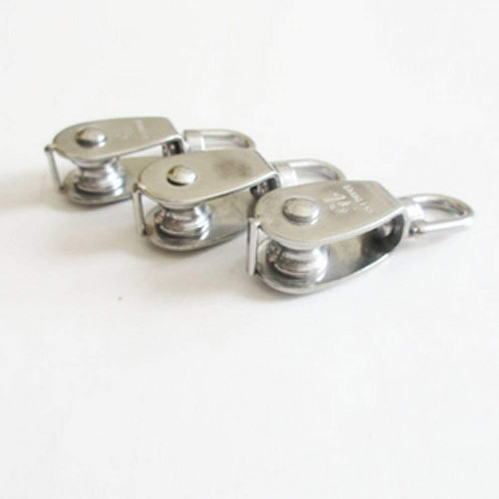 Qpllrzz 2-teilig 15MM Einzel Flaschenzug in 304 Edelstahl M15 Riemenscheibe Roller Loading 35kg Silber