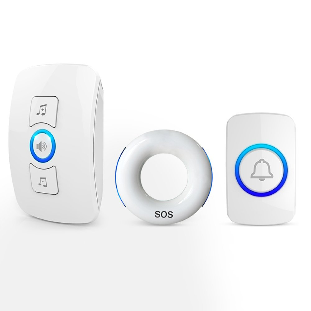 Elderly Pager Smart Remote Control Home Intercom Medical Portable Lanyard Wireless Pager Alarm Ringing Emergency Call Pager,White(1Host+1Button+WhiteBedsideButton)