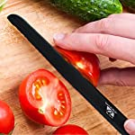 "6"" Ceramic Blade Chef's Knife by Sharp Box - Professional Quality with U-Shaped Ergonomic Handle - Eco-Friendly Product - BLACK Blade 11 EFFORTLESS CUTTING - Our black, 6 inch, professional grade, CERAMIC utility knife is ultra-sharp. This Japanese inspired chef knife delivers smooth, high-precision chopping, mincing, slicing, and dicing power. The serrated blade is no match for bread, bagels, tomatoes, fruits, and vegetables. A must have for any amateur or seasoned chef and a needed addition to any kitchen flatware set. NO SHARPENING - Our high tech ceramic blade is ground to microscopic precision by diamond wheels for a rock-like edge that is 10x sharper than stainless steel and will not dull for years. This RAZOR like edge retention means no sharpening for years to come. WORRY FREE AND EASY TO CLEAN - Less exposure to germs and bacteria because ceramic is NON-POROUS and chemically stable. And, unlike metal blades, our pure ceramic blades are rust and corrosion free. Our super sharp, ceramic knives don't react chemically with acids, oils, salts, or juices that can change the flavor of your food like steel knives do. Not only will this knife not leave your food with a metallic taste as others might, it also wipes away and cleans in seconds!"