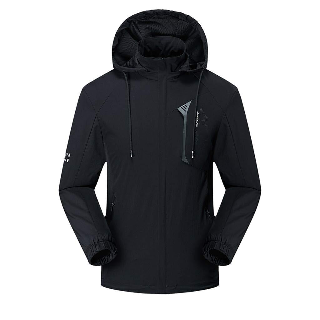Hooded Jacket for Men Long Sleeve Splice Water Resistant Windbreaker Outdoor Sportswear (XXXXL, Black2) by Suoxo Men Tops