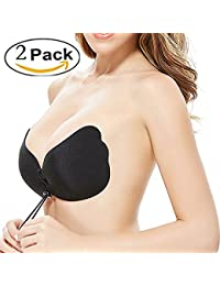 Strapless Sticky Bra with Drawstring Backless Women Bra Reusable Push up Sticky Bras Self Adhesive Invisible