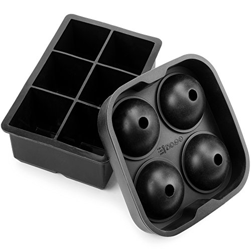 Set of 2 Ice Mold Trays - Black Silicone Sphere Ice Mold and Big Block Ice Cube Tray for Scotch, Whiskey, and Mixed Drinks by Cocktailor