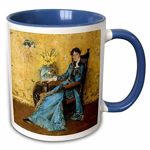 Two Tone Dora - 3dRose BLN American Art Fine Art Collection - Portrait of Miss Dora Wheeler by William Merritt Chase - 15oz Two-Tone Blue Mug (mug_126915_11)