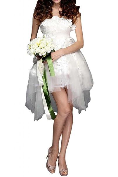 Sunvary sin tirantes de tul Mini para vestidos de niña para fiesta cóctel fiesta Blanco blanco