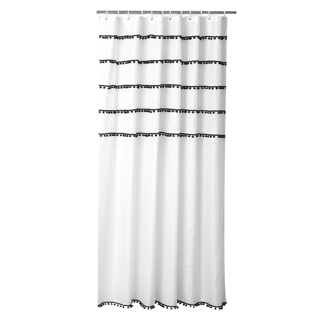 HONGLIAN Bathroom Polyester Cloth Shower Curtain Moldproof Waterproof Toilet Partition Curtain Can Be Washed 180 180cm, 180 200cm with Shower Curtain Ring (Color : A, Size : 180200cm)