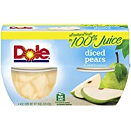Dole Fruit Bowls, Diced Pears in 100% Fruit Juice, 4oz, 4 cups