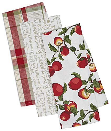 Apple Themed Decorative Cotton Kitchen Towels Set with Red and Gray Print | 2 Apples Theme and 1 Checkered Towel for Dish and Hand Drying