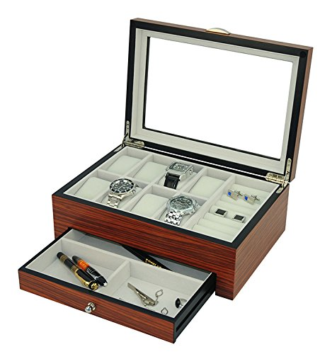 NEW LUXURY Rosewood Gloss Watch and Jewelry Organization Box,Men's Valet Storage Box (Rosewood)