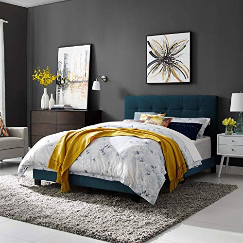 Modway Amira Mid-Century Modern Upholstered Fabric Tufted King Bed Frame With Headboard In - Manhattan King Platform