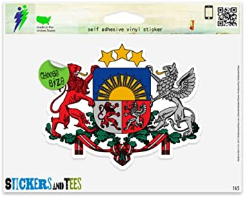 3/'/' Latvia Coat Of Arms Car Bumper Sticker Decal 5/'/' or 6/'/'