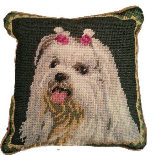 "Maltese Dog Needlepoint Wool Throw Pillow 10"""