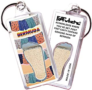 product image for Bermuda FootWhere Keychain (BRM103 - Shorts). Authentic Destination Souvenir acknowledging Where You've Set Foot. Genuine Soil of Featured Location encased Inside Foot Cavity. Made in USA