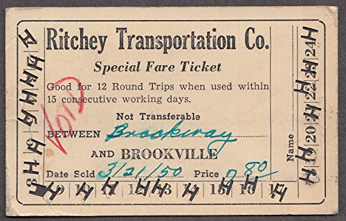 Ritchey Transportation Special Fare Ticket Brockway-Brookville PA ()