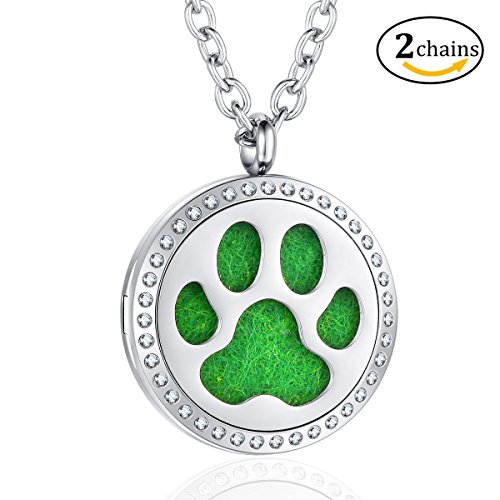 Aromatherapy Essential Oil Diffuser Locket Puppy Dog Paw Print Necklace Pendant Jewelry Gift Sets 2 Chain 8 Pads