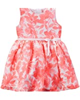 Carters Baby Girls Coral Floral Crepe Dress
