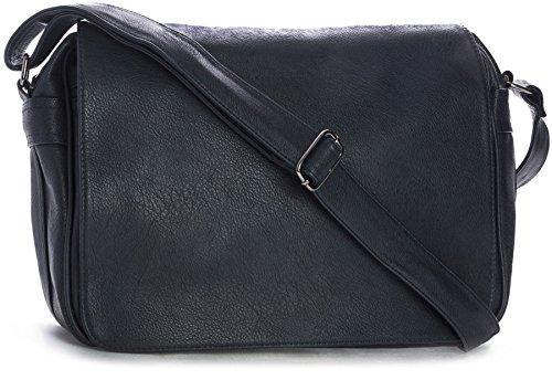 Big Handbag Shop - Bolso bandolera unisex Azul Marino Azul