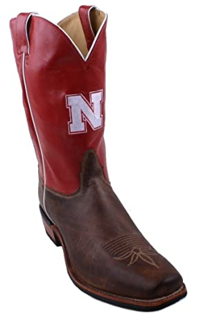 Nocona 7MDUN21 Mens Nebraska Crimson/Tan Vintage Cowhide Branded College Boots
