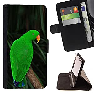 BullDog Case - FOR/Sony Xperia Z3 D6603 / - / parrot parolee green nature tropics /- Monedero de cuero de la PU Llevar cubierta de la caja con el ID Credit Card Slots Flip funda de cuer