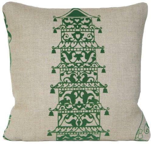 Green Pagoda Design Decorative Pillow Case Linen Cushion Cover Lorca Collection Ming