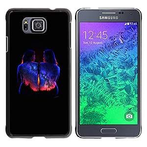iKiki Tech / Estuche rígido - Bodypaint Black Universe Stars - Samsung GALAXY ALPHA G850