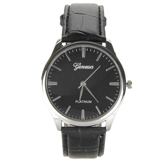 Reloj Elegante para Hombre Pulsera Cuero Negro My-Montre: Amazon.es: Relojes