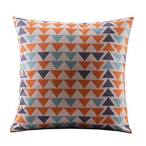 "Price comparison product image Create For-Life Cotton Linen Decorative Pillowcase Throw Pillow Cushion Cover Square 18"" Retro Small Colorful Triangles"