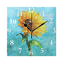 HangWang Wall Clock Blue Watercolor Sunflower Silent Non Ticking Decorative Square Digital Clocks for Home/Office/School Clock