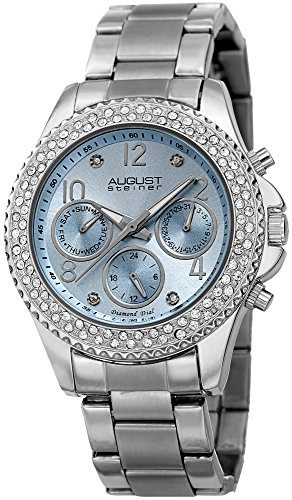 Watch 20 Womens Diamonds (August Steiner Women's AS8136SSLB Silver Multifunction Quartz Watch with Light Blue Dial and Silver Bracelet)