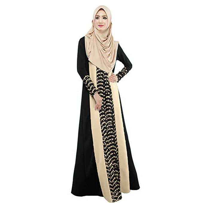 ad1ae2fdd4d3 Muslim Women Long Dress,Islam Abaya Kaftan Dubai Ethnic Clothing Loose Patchwork  Gown Maxi Dresses: Clothing