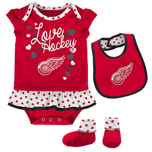 NHL Detroit Wings Children Girls Love Hockey Bib & Bootie Set, 12 Months, Red (Bib Hockey Sports)