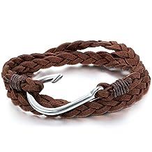 JewelryWe Vintage Fashion Hook Wrap Knit Men Women Bracelet Bangle Velvet Alloy Fish Hook Bracelet Black Brown Lakeblue