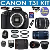 REFURBISHED CANON REBEL T3I+ CANON 18-55mm IS LENS + CANON 75-300mm ZOOM LENS + VIVITAR 500mm MIRROR LENS + 2X TELECONVERTER LENS + .40X SUPER WIDE ANGLE FISHEYE LENS + 8GB HIGH SPEED MEMORY CARD CLASS 10 + 3 YEAR CELLTIME WARRANTY