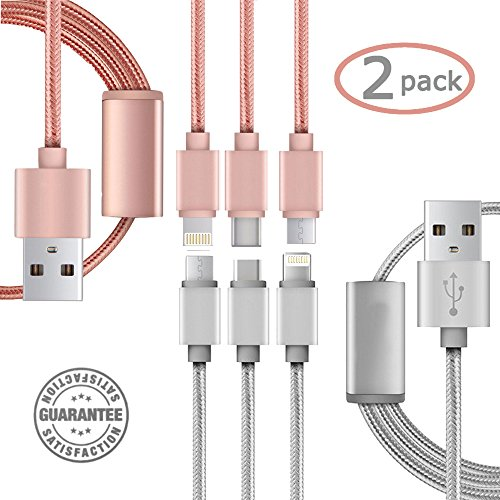 USB 3 in 1 Cable (2 Pack) - Long 3.3 Feet NylonBraided Durable Quick Charge & Data Connection Lightning MFI Certified Micro Type C Every4Less iPhone 7 Plus (Silver + Rose Gold) (3in1 Usb Cable compare prices)