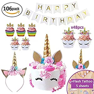Makadami Unicorn Cake Topper – Unicorn Cake Decorations – Unicorn Cupcake Topper – Unicorn Horn Headband – Unicorn Party Decorations – Unicorn Cupcake Decorations – Unicorn Cake Decorating Kit